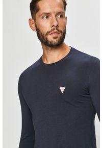 Niebieska koszulka z długim rękawem Guess Jeans na co dzień, casualowa