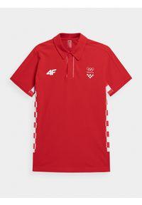 4f - Koszulka polo męska Chorwacja - Tokio 2020. Typ kołnierza: polo. Kolor: czerwony. Materiał: bawełna, dzianina. Wzór: nadruk. Sezon: lato