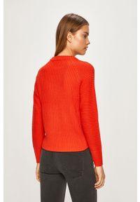 Czerwony sweter only raglanowy rękaw, z okrągłym kołnierzem