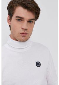 Pepe Jeans - Longsleeve bawełniany Wallo. Okazja: na co dzień. Typ kołnierza: golf. Kolor: biały. Materiał: bawełna. Długość rękawa: długi rękaw. Wzór: aplikacja. Styl: casual
