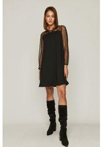 Czarna sukienka medicine prosta, z długim rękawem, casualowa, mini