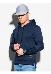 Niebieska bluza Ombre Clothing z aplikacjami, z kapturem