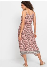 Długa sukienka LENZING™ ECOVERO™ bonprix jasnoróżowy wzorzysty. Kolor: różowy. Długość rękawa: na ramiączkach. Długość: maxi