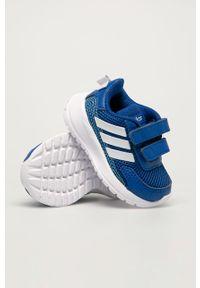 Niebieskie buty sportowe Adidas z okrągłym noskiem, na rzepy, z cholewką