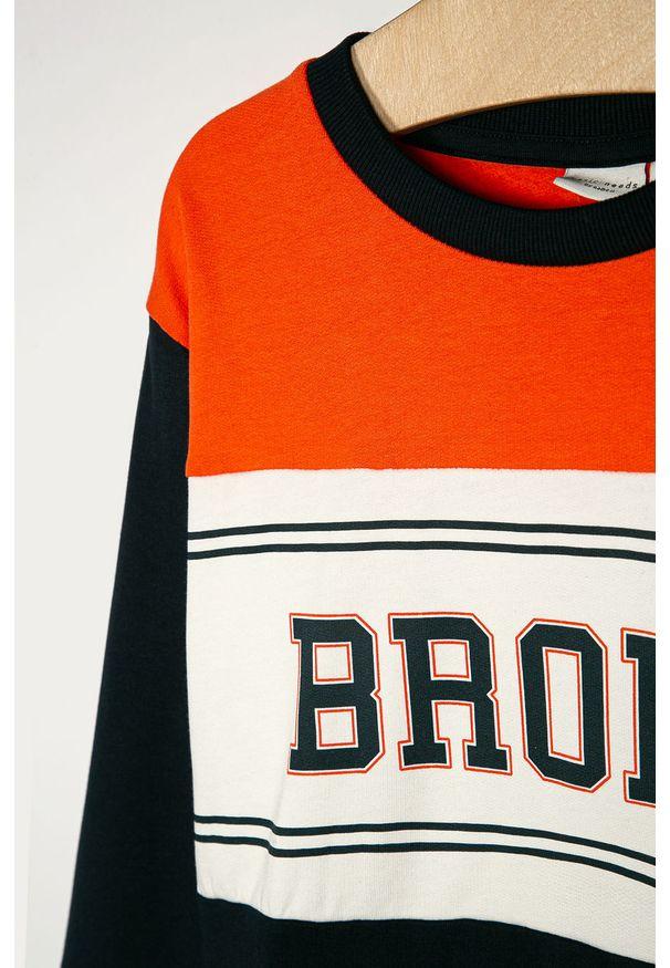 Pomarańczowa bluza Name it z nadrukiem, casualowa, na co dzień, bez kaptura