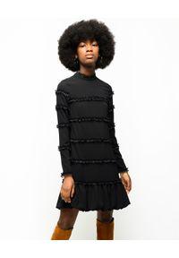 Czarna sukienka mini Pinko z aplikacjami, z długim rękawem, prosta, do pracy