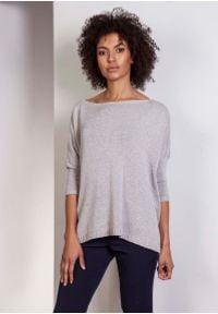 Lanti - Szary Oversizowy Sweter z Metaliczną Nitką. Kolor: szary. Materiał: akryl, wiskoza
