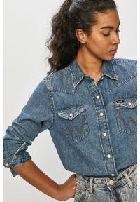 Niebieska koszula Wrangler gładkie, z długim rękawem