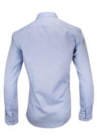 Niebieska elegancka koszula Rey Jay w kratkę, długa