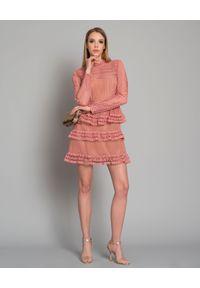 SELF PORTRAIT - Sukienka z koronki LIMITOWANA KOLEKCJA. Okazja: na urodziny. Kolor: różowy, wielokolorowy, fioletowy. Materiał: koronka. Wzór: koronka. Sezon: lato. Typ sukienki: rozkloszowane. Styl: elegancki. Długość: mini