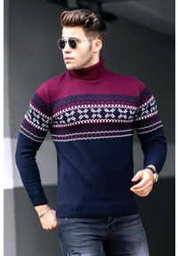 Wielokolorowy sweter IVET z golfem