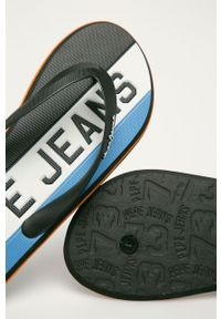 Pepe Jeans - Japonki Whale Timy. Kolor: czarny. Materiał: materiał, guma. Wzór: gładki. Obcas: na obcasie. Wysokość obcasa: niski