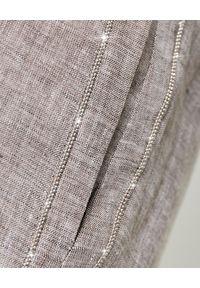 PESERICO - Beżowe spodnie z lnu. Stan: podwyższony. Kolor: beżowy. Materiał: len. Wzór: aplikacja. Sezon: wiosna, lato