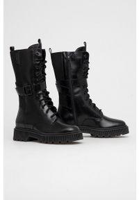 Kurt Geiger London - Botki skórzane Stint Lace Up Boot. Nosek buta: okrągły. Kolor: czarny. Materiał: skóra. Obcas: na platformie