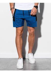 Ombre Clothing - Krótkie spodenki męskie dresowe W240 - niebieskie - XXL. Kolor: niebieski. Materiał: dresówka. Długość: krótkie. Wzór: aplikacja