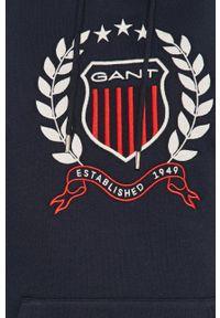 GANT - Gant - Bluza. Okazja: na co dzień. Typ kołnierza: kaptur. Kolor: niebieski. Materiał: dzianina. Wzór: aplikacja. Styl: casual