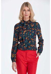 Brązowa bluzka Nife elegancka, z kokardą