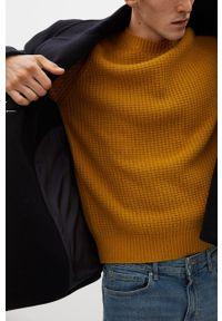 Żółty sweter Mango Man długi, z długim rękawem, casualowy, na co dzień