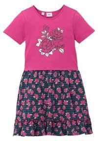 Różowa sukienka bonprix z krótkim rękawem, z nadrukiem