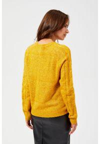 Żółty sweter MOODO z klasycznym kołnierzykiem, klasyczny, z długim rękawem, długi