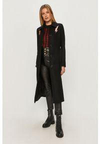 Czarny płaszcz Love Moschino bez kaptura, na co dzień, z haftami