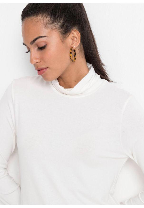 Biała bluzka bonprix w koronkowe wzory, z golfem, elegancka
