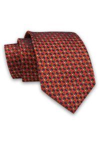 Alties - Czerwono-Pomarańczowy Elegancki Męski Krawat -ALTIES- 7cm, Stylowy, Klasyczny, Wzór Geometryczny. Kolor: czerwony. Materiał: tkanina. Wzór: geometria. Styl: klasyczny, elegancki