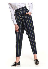 Niebieskie spodnie TOP SECRET w kolorowe wzory, na wiosnę