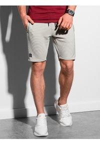 Ombre Clothing - Krótkie spodenki męskie dresowe W294 - jasnoszare - XXL. Kolor: niebieski. Materiał: dresówka. Długość: krótkie. Styl: klasyczny, sportowy