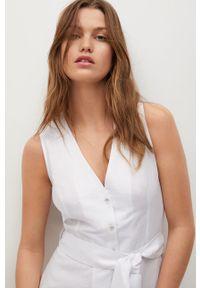 mango - Mango - Sukienka lniana Iri. Okazja: na co dzień. Kolor: biały. Materiał: len. Typ sukienki: proste. Styl: casual