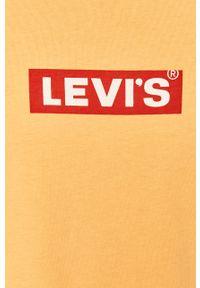 Pomarańczowy t-shirt Levi's® z nadrukiem, z okrągłym kołnierzem, na spotkanie biznesowe