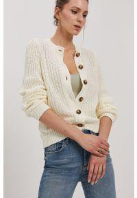 Pieces - Sweter. Okazja: na co dzień. Kolor: beżowy. Materiał: bawełna. Długość rękawa: długi rękaw. Długość: długie. Styl: casual