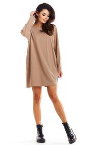 Infinite You - Beżowa Trapezowa Sukienka Wizytowa. Kolor: beżowy. Materiał: bawełna. Typ sukienki: trapezowe. Styl: wizytowy