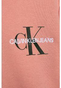 Różowa bluza Calvin Klein Jeans z nadrukiem, na co dzień, casualowa