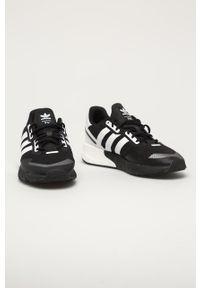 Czarne sneakersy adidas Originals Adidas ZX, z cholewką, z okrągłym noskiem, na sznurówki
