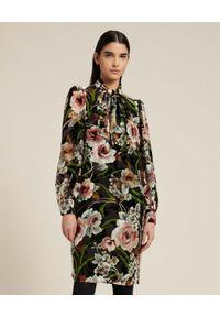 Luisa Spagnoli - LUISA SPAGNOLI - Sukienka mini z kwiatowym wzorem Gelati. Kolor: czarny. Materiał: tkanina, jedwab. Wzór: kwiaty. Typ sukienki: koszulowe. Długość: mini