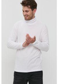 Jack & Jones - Longsleeve bawełniany. Okazja: na co dzień. Typ kołnierza: golf. Kolor: biały. Materiał: bawełna. Długość rękawa: długi rękaw. Wzór: gładki. Styl: casual