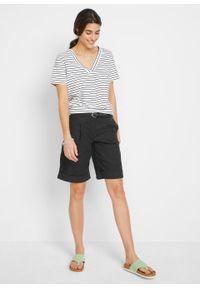 T-shirt z dekoltem w serek, bawełna organiczna bonprix czarno-biały w paski. Typ kołnierza: dekolt w serek. Kolor: czarny. Materiał: bawełna. Wzór: paski