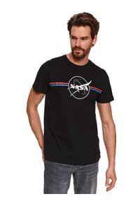 Czarny t-shirt TOP SECRET klasyczny, do pracy
