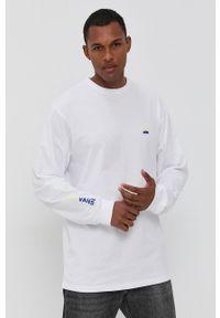 Vans - Longsleeve bawełniany. Okazja: na co dzień. Kolor: biały. Materiał: bawełna. Długość rękawa: długi rękaw. Wzór: nadruk. Styl: casual