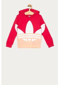 Różowa bluza adidas Originals z kapturem, casualowa, na co dzień