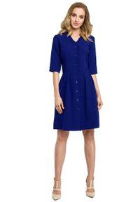 Niebieska sukienka z falbanami MOE szmizjerki
