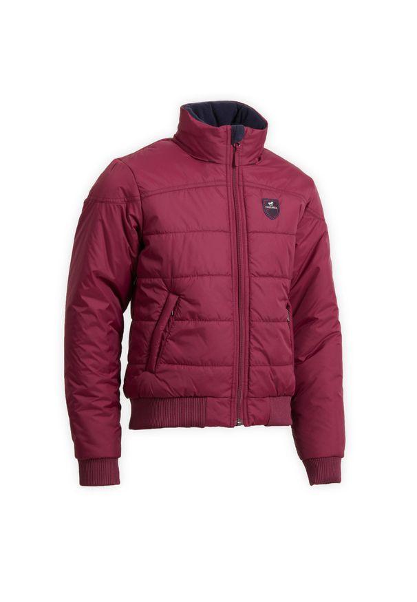 FOUGANZA - Ciepła bluza jeździecka 500 Warm dla dzieci. Kolor: wielokolorowy, niebieski, fioletowy. Długość: krótkie. Sport: jeździectwo