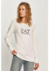 Biała bluza EA7 Emporio Armani z nadrukiem, z okrągłym kołnierzem, casualowa, na co dzień