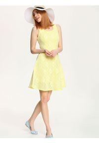 Żółta sukienka TROLL wizytowa, na wesele, na ramiączkach