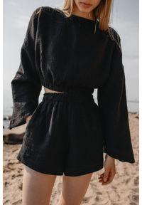 Marsala - Bluzka z muślinu bawełnianego w kolorze czarnym - SOLEO BY MARSALA. Kolor: czarny. Materiał: bawełna. Długość rękawa: długi rękaw. Długość: długie. Sezon: lato. Styl: boho
