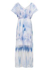 Długa sukienka z batikowym nadrukiem bonprix biało-niebieski z nadrukiem. Kolor: biały. Wzór: nadruk. Długość: maxi