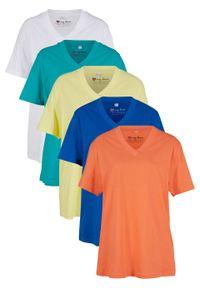 Długi shirt z dekoltem w szpic (5 sztuk), krótki rękaw bonprix łososiowy pomarańczowy + lazurowy + jasna limonka + szmaragdowy + biały. Kolor: pomarańczowy. Długość rękawa: krótki rękaw. Długość: krótkie