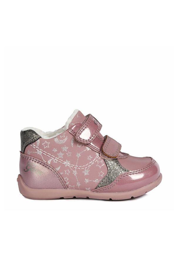 Różowe buty sportowe Geox z cholewką, z okrągłym noskiem