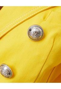 Balmain - BALMAIN - Dwurzędowa marynarka w kolorze żółtym. Kolor: żółty. Materiał: bawełna